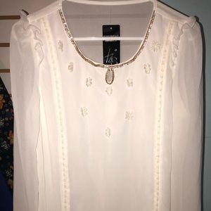 Tops - Sheer embroidered long sleeve shirt